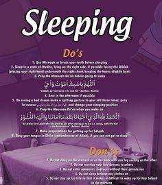 The adaab of sleeping~Islamic Manners Islam Hadith, Islam Quran, Alhamdulillah, Quran Quotes, Faith Quotes, Islamic Posters, Islam For Kids, All About Islam, Learn Islam