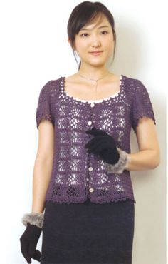 Patterned Cardigan with Pineapple Motif Free Crochet pattern with short sleeves. Materials • Pierrot Yarns Silk100 Bouclé Fingering ; color #4523 purple; 2 cones • 2.0mm crochet hook or size necessary to achieve gauge; US B is the closest equivalent • 5 buttons (15mm / approx. 5/8″) • tapestry needle Gauge Gauge is measured in a swatch 10cm/4″ square. • pattern stitch A: 31 st and 14.5 rows • pattern stitch B: 33.5 st and 12.5 rows Finished measurements • bust 90cm/35.4″ • back width…