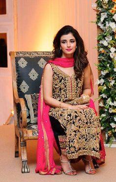 Dark Green Gold Long Shirt With Shocking Pink DRess ! So RaVishing .. Mina Hassan
