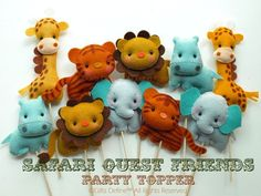 Set of 4 Safari Quest Jungle Animals, Custom Party Topper, Party Favors, Cupcake Topper, Baby Shower, Birthday Party Decor, Zoo Theme Room