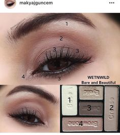"wet n wild ""Bare and Beautiful"" -Palette ohne Eyeliner . Eye Makeup Steps, Simple Eye Makeup, Natural Makeup, Makeup Tips, Beauty Makeup, Hair Makeup, Makeup Tutorial Eyeliner, Eyeshadow Makeup, Eyeliner Styles"