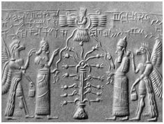 Two hawk-faced beings stand behind them bearing fruit from the Tree in one hand and the Tablets of Destiny in the other. They represent a humanized version of the ancient Sumerian Storm Bird Zu, who achieved fame assisting the sun god and stealing the Tablets Of Destiny from the vengeful goddess Inanna-Ishtar.