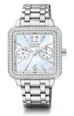 Citizen Eco-Drive, Silhouette. Swarovski crystal bezel, mother of pearl face! My watch puts your Michael Kors to shame!