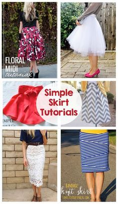 Simple Sewing Tutorials - Skirts - Maxi skirt, pencil skirt, tulle skirt, circle skirt, midi skirt... I can't wait to get sewing! #tulleskirttutorial