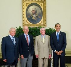 Anniversary: Left to right, Apollo 11 crew members, Buzz Aldrin, Michael Collins, and Neil Armstrong posed for photos with President Obama on the 40th anniversary of the moon landing