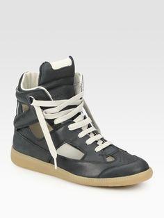 Maison Martin Margiela Cutout High Top Sneakers in Black