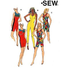 Kwik Sew 2318 90s Bodysuit Unitard Leotard one piece exercise Athletic wear sewing pattern Sz XS to XL.    This two exercise bodysuit or unitard