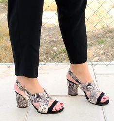 Women Snake Skin Chunky Heel Sandals herhershoes - Women's style: Patterns of sustainability Womens Summer Shoes, Womens High Heels, Stylish Sandals, Shoes Heels Wedges, High Wedges, Studded Heels, Trendy Shoes, Strap Heels, Ankle Straps