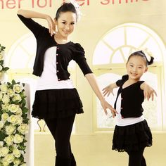 2016 Real Mickey Minnie Fashion Spring Clothes For Mother And Daughter Set Swan Lace Skorts Outerwear Cardigan Performance Wear   Price: $34.00