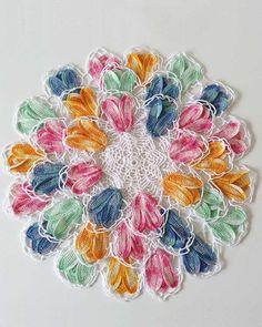 Maggie's Crochet · Vintage Variegated Tulip Doilies Set Crochet ...