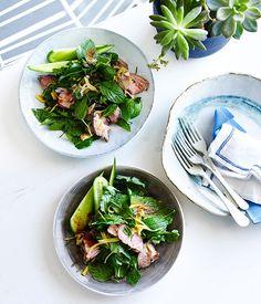 Australian Gourmet Traveller fast recipe for Thai grilled pork salad with green mango.
