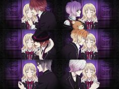 Yui with all of the 6 Sakamaki Brothers Diabolik Lovers Season 3, Diabolik Lovers Ayato, Ayato Sakamaki, Yandere, Diabolik Lovers Wallpaper, How To Train Dragon, Cute Baby Animals, Wild Animals, Cool Cartoons