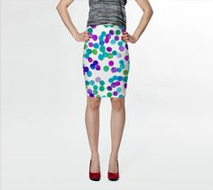 "Fitted Skirt ""Blue Purple Watercolour Dots"" by Jenny Mhairi"
