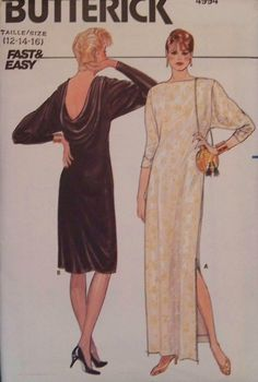 Vintage 1980's Butterick 4994 Fast and Easy UNCUT Pattern for Misses' Dress in Size 12-14-16. $5.00, via Etsy.