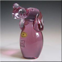 Zelezny Brod Czech Neodymium Pink Glass Dog - Label - £12.99