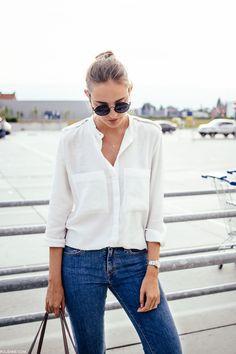 2015 H&M shirt & necklace, LEVI'S c/o LOT 721 denim, TOSCA BLU c/o bag