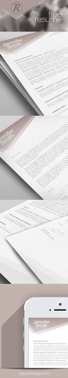Modern Resume \ Cover Letter Template --- Editable word format - free resume and cover letter template