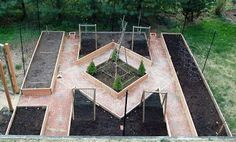 Such a simple and very pretty design for a potager, kitchen garden, flower or herb garden from garden fool: April 2009