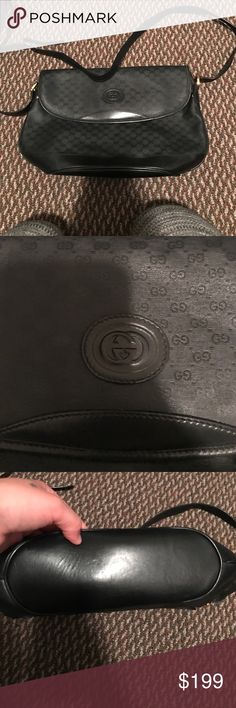 Women's vintage Gucci handbag/crossbody This is a vintage Gucci bag. Not sure the production date but I am selling for my mother in law and it is 1000% authentic and purchased in Europe. Black. Only damage is shown in images but it is in using condition. Great piece. Gucci Bags Crossbody Bags