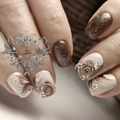Nice brown and neude manicure