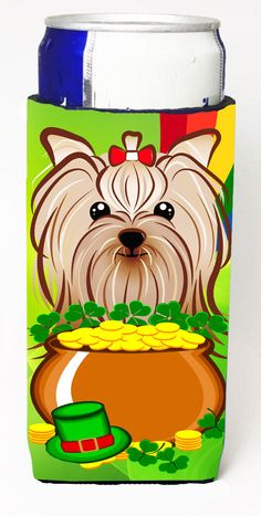 Yorkie Yorkshire Terrier St. Patricku0027s Day Michelob Ultra Beverage  Insulator For Slim Cans BB1948MUK