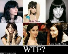 LOLwtfCOMICS :  ZOOEY DESCHANEL, KATY PERRY, SIWAN MORRIS, MIA KIRSHNER, EMILY BLUNT, KATIE FEATHERSTON, WTF THEY ALL LOOK THE SAME