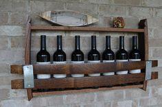 Items similar to California Wine Barrel wine rack 7 bottles! made from reclaimed wood wine barrels on Etsy Bourbon Barrel, Whiskey Barrels, Wine Barrel Furniture, Wooden Furniture, Wine Barrel Diy, Barrel Projects, Barrel Rings, Pallet Wine, Wooden Barrel Ideas
