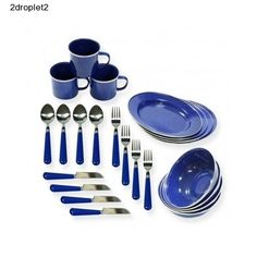 Camping-Dish-Set-24-Piece-RV-Steel-Lightweight-Compact-Hardy-Glaze-Blue-Strong