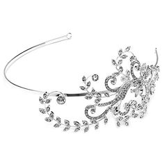 USABride SilverTone Floral Rhinestone Side Headband Bridal Headpiece 3184 -- Read more  at the image link.