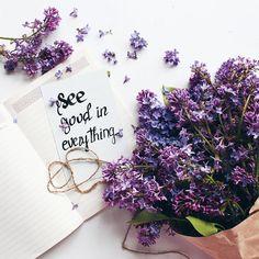 flatlay see good in everything lilac Spring Photography, Flat Lay Photography, Book Photography, Amazing Flowers, Beautiful Flowers, Beautiful Images, Makeup City, Purple Flower Girls, Purple Flowers