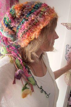 rustic alpaca wool handknit slouchy faerie by beautifulplace, $76.00