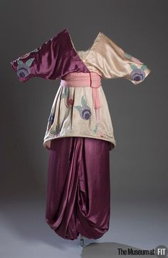 Evening Dress Made Of Mauve And Ivory Silk Satin And Seed Beads - Designed By Paul Poiret - France   c.1913  -  The Museum at FIT