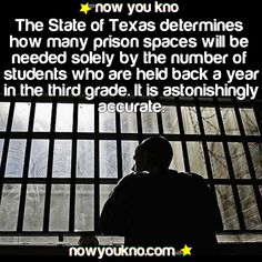 The state of Texas determines how many prison spaces will be needed solely by the number of students who are held back a year in the third grade. It is astonishingly accurate. Kinda makes you think we should invest more in education than prisons, no? The More You Know, Good To Know, Did You Know, Just For You, Wtf Fun Facts, True Facts, Random Facts, Funny Facts, Movie Facts