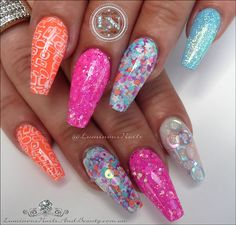 Bright n Fun...Inspired By Music Box Glitter Mix. Retro Acrylic Nails.