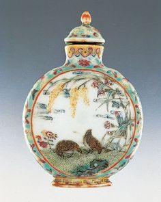 Porcelain bottle with enamel decoration of quails and grains, Qianlong period, 1736–1795. Collection of Christopher C. H. Sin.