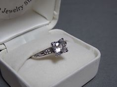 1930s One Carat white sapphire engagement ring WG and YG Size 7.25 Solitaire 2.9gm on Etsy, $495.00