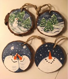 Items similar to Hand painted wooden ornaments on Etsy – Holzarbeiten Christmas Wood Crafts, Wooden Christmas Ornaments, Snowman Crafts, Homemade Christmas, Christmas Projects, Holiday Crafts, Christmas Crafts, Christmas Decorations, Diy Weihnachten