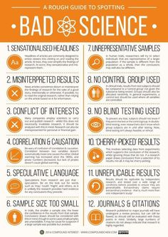 Infographic: A Rough Guide to Spotting Bad Science. A brief detour from chemistry, branching out into science in general today. This graphic looks at the different factors that can contribute towards 'bad' science - it was inspired by the research I. Science Classroom, Teaching Science, Science Education, Primary Education, Pseudo Science, Science And Nature, Applied Science, Chemistry Teacher, Science Chemistry