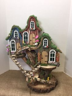 Pixie village cottages gallery miniature fairy garden boot home Fairy Tree Houses, Fairy Village, Fairy Garden Houses, Gnome Village, Fairy Gardening, Fairies Garden, Fairy Crafts, Garden Crafts, Pixie