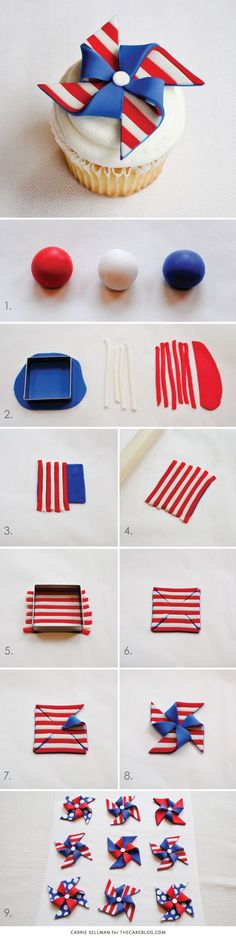 Too cute for Memorial Day and July 4th | DIY Patriotic Pinwheel Cupcakes in Red, White & Blue | by Carrie Sellman for TheCakeBlog.com