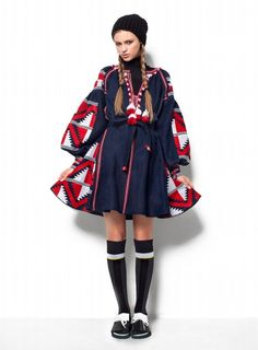 Ukrainian dress vyshyvanka red and white on navy vita kin style