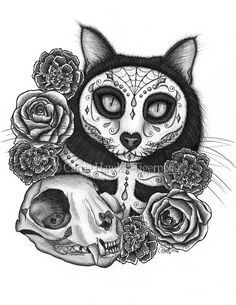 """Day of the Dead Cat Skull - Size; 8.5"""" x 11"""" Medium; Copic Markers, Pencil and Colored Pencils on Bristol Paper.  2016 - Día de los Muertos Gato, A striking black and white illustration of a black cat painted as a sugar skull cat, framed by beautiful marigolds, roses and a cat skull for the Mexican holiday Day of the Dead. Prints & Gift Items are available on my website. © Carrie Hawks, Tigerpixie.com"""