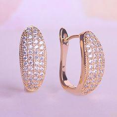 Blucome Shining Copper Jewelry Full Rhinestones Earring Prong Setting CZ Princess Hooks D Earrings For Wedding Woman Ear Bijoux Gold Jewelry Simple, Gold Rings Jewelry, Copper Jewelry, Jewelery, Gold Jewellery, Jewelry Design Earrings, Gold Earrings Designs, Women's Earrings, Jewellery Designs
