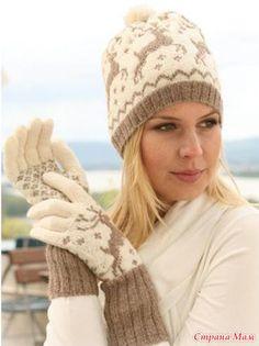 "Ravelry: Knitted gloves with reindeer in ""Fabel"" and ""Alpaca"" pattern by DROPS design-free pattern Mittens Pattern, Knit Mittens, Knitted Gloves, Alpaca Socks, Drops Design, Crochet Wool, Crochet Hats, Fair Isle Knitting Patterns, Alpacas"