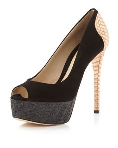 Layne Metallic-Heel Pump, Black by B by Brian Atwood at Neiman Marcus Last Call.  $350.00 onsale for $171.50