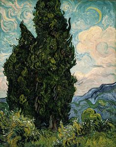 artists paintings claude monet Cypresses by Vincent van Gogh - Famous Art - Handmade Oil Painting on Canvas — Canvas Paintings Art Van, Paul Gauguin, Van Gogh Arte, Van Gogh Pinturas, Van Gogh Paintings, Famous Art Paintings, Famous Artwork, Famous Impressionist Paintings, Paintings Online