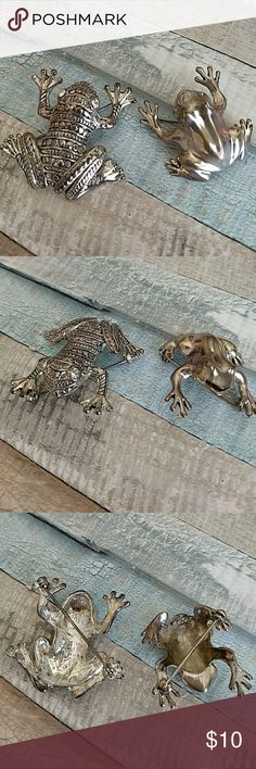 Set of Silver Frog Pins 🐸 Cute silver frog pins. Smaller one about an inch larger one about an inch and a half. Larger one has rhinestone eyes. Jewelry Brooches