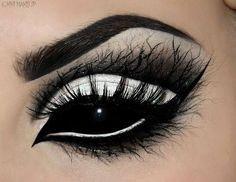 Black and white eye makeup.