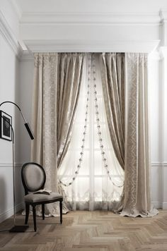 Layered rod pocket treatment under cornice шторы curtains, luxury curtains Luxury Curtains, Home Curtains, Hanging Curtains, Curtains With Blinds, Beige Curtains, Layered Curtains, Double Rod Curtains, Double Curtain Rod Brackets, Curtain Styles
