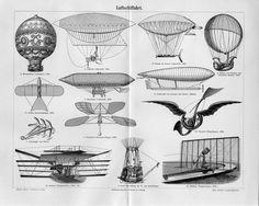 1895 Old Airships Hot Air Balloon Plane